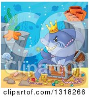 Cartoon Shark Sitting In A Treasure Chest And Surrounded By Coins And Jewels On A Reef