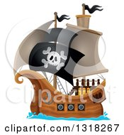 Cartoon Pirate Ship Sailing With A Jolly Roger Flag