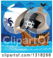 Clipart Of A Cartoon Pirate Ship Sailing With A Jolly Roger Flag By An Island At Night Royalty Free Vector Illustration