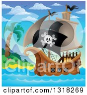 Clipart Of A Cartoon Pirate Ship Sailing With A Jolly Roger Flag By An Island During The Day Royalty Free Vector Illustration
