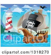 Clipart Of A Cartoon Pirate Ship Sailing With A Jolly Roger Flag With A Fish And Lighthouse During The Day Royalty Free Vector Illustration by visekart
