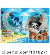 Clipart Of A Cartoon Pirate Ship Sailing With A Jolly Roger Flag By A Parrot And Treasure Ches Ton An Island Royalty Free Vector Illustration