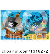 Clipart Of A Cartoon Pirate Ship Sailing With A Jolly Roger Flag By A Parrot And Treasure Ches Ton An Island 2 Royalty Free Vector Illustration