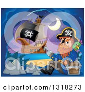 Clipart Of A Cartoon Pirate Ship Sailing With A Jolly Roger Flag And A Pirate Sitting With A Parrot And Treasure In An Island Cave Royalty Free Vector Illustration by visekart
