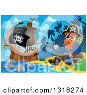 Clipart Of A Cartoon Pirate Ship Sailing With A Jolly Roger Flag And A Pirate Sitting With A Parrot And Treasure On An Island Beach Royalty Free Vector Illustration by visekart