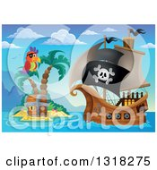 Clipart Of A Cartoon Pirate Ship Sailing With A Jolly Roger Flag By A Parrot And Treasure Ches Ton An Island 3 Royalty Free Vector Illustration