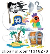 Clipart Of A Cartoon Pirate Parrot Accessories Jolly Roger Treasure Chest And Island Royalty Free Vector Illustration by visekart
