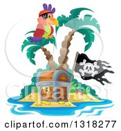 Cartoon Pirate Parrot On An Island Palm Tree Over A Treasure Chest With A Jolly Roger Flag