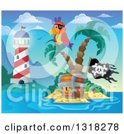 Clipart Of A Cartoon Shining Lighthouse By A Pirate Parrot On An Island Palm Tree Over A Treasure Chest With A Jolly Roger Flag Royalty Free Vector Illustration