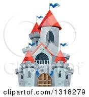 Clipart Of A Gray Stone Castle With Red Turrets Royalty Free Vector Illustration