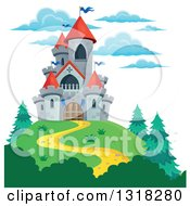 Clipart Of A Gray Stone Castle With Red Turrets On A Hill Top Royalty Free Vector Illustration