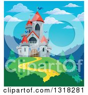 Clipart Of A Gray Stone Castle With Red Turrets On A Hill Top Against Blue Sky Royalty Free Vector Illustration