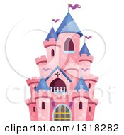 Clipart Of A Pink Castle With Purple Turrets Royalty Free Vector Illustration by visekart