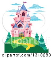 Clipart Of A Pink Castle With Purple Turrets On A Hill Top Royalty Free Vector Illustration by visekart