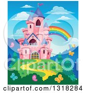 Clipart Of A Pink Castle With Purple Turrets On A Hill Top With Butterflies And A Rainbow Royalty Free Vector Illustration