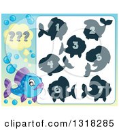 Clipart Of A Blue And Purple Fish And Riddle Game Royalty Free Vector Illustration
