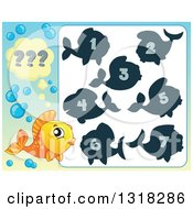Clipart Of An Orange Fish And Riddle Game Royalty Free Vector Illustration