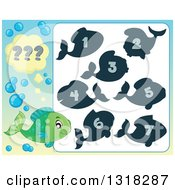 Clipart Of A Green Fish And Riddle Game 2 Royalty Free Vector Illustration