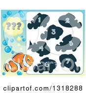 Clipart Of A Clown Fish And Riddle Game Royalty Free Vector Illustration by visekart