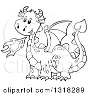 Lineart Clipart Of A Black And White Fire Breathing Dragon Royalty Free Outline Vector Illustration