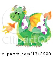 Clipart Of A Green Fire Breathing Dragon Royalty Free Vector Illustration by visekart