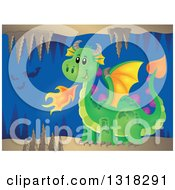 Clipart Of A Green Fire Breathing Dragon In A Cave With Bats Royalty Free Vector Illustration