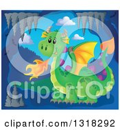 Clipart Of A Green Fire Breathing Dragon In A Cave Royalty Free Vector Illustration