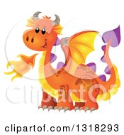Clipart Of An Orange Fire Breathing Dragon Royalty Free Vector Illustration by visekart