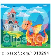 Clipart Of A Gray Stone Castle With Red Turrets And An Orange Dragon During The Day Royalty Free Vector Illustration