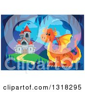 Clipart Of A Gray Stone Castle With Red Turrets And An Orange Dragon In A Cave Royalty Free Vector Illustration by visekart