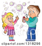 Clipart Of A Cartoon Caucasian Boy And Girl Blowing Bubbles Royalty Free Vector Illustration by visekart
