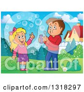 Cartoon Caucasian Boy And Girl Blowing Bubbles In A Park