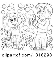 Lineart Clipart Of A Cartoon Black And White Boy And Girl Blowing Bubbles Royalty Free Outline Vector Illustration by visekart