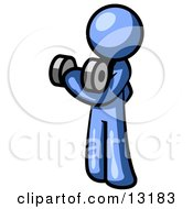 Blue Man Lifting Weights With A Dumbell Clipart Illustration by Leo Blanchette #COLLC13183-0020