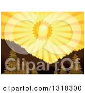 Clipart Of A Shining Orange Sunset Sun And Rays Over Trees And Mountains Royalty Free Vector Illustration by visekart