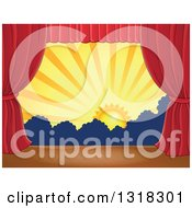 Clipart Of A Stage Setting Of The Sun And Silhouetted Shrubs Framed With Red Drapes 4 Royalty Free Vector Illustration