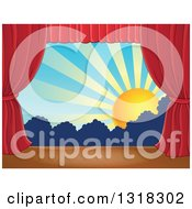 Clipart Of A Stage Setting Of The Sun And Silhouetted Shrubs Framed With Red Drapes 5 Royalty Free Vector Illustration