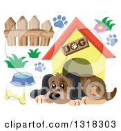 Clipart Of A Cartoon Dog Resting By His House With Accessories Royalty Free Vector Illustration