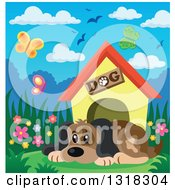 Clipart Of A Cartoon Dog Resting By His House On A Spring Day Royalty Free Vector Illustration