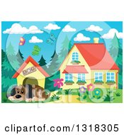 Clipart Of A Cartoon Dog Resting By His House On A Spring Day With A House In The Background Royalty Free Vector Illustration