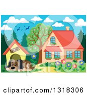 Clipart Of A Cartoon Dog Resting By His House On A Sunny Day With A House In The Background Royalty Free Vector Illustration