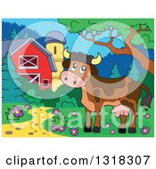 Cartoon Brown Cow In A Yard By A Barn And Silo During The Day