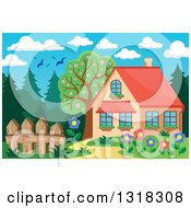 Clipart Of A Cartoon Home With A Flower Garden Forest And Birds Under A Day Sky Royalty Free Vector Illustration