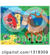 Clipart Of A Cartoon Brown Horse In A Yard By A Barn And Silo During The Day Royalty Free Vector Illustration