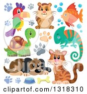Clipart Of A Cartoon Dog Parrot Hamster Fish Chameleon Tortoise And Cat With Paw Prints Royalty Free Vector Illustration