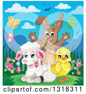 Poster, Art Print Of Cartoon Spring Chick Lamb And Rabbit With Flowers And Butterflies