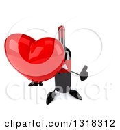 Clipart Of A 3d Wine Bottle Mascot Holding Up A Thumb And A Heart Royalty Free Illustration