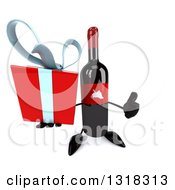 Clipart Of A 3d Wine Bottle Mascot Holding Up A Thumb And A Gift Royalty Free Illustration