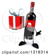 Clipart Of A 3d Wine Bottle Mascot Shrugging And Holding A Gift Royalty Free Illustration