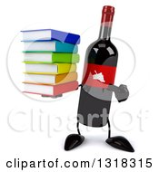 Clipart Of A 3d Wine Bottle Mascot Holding And Pointing To A Stack Of Books Royalty Free Illustration